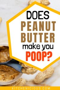 does peanut butter make you poop Pinterest pin with peanut butter and a spoon image